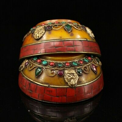 Collect China Tibet Old Brass Armour Amber & Red Turquoise Carve Delicate Bowl