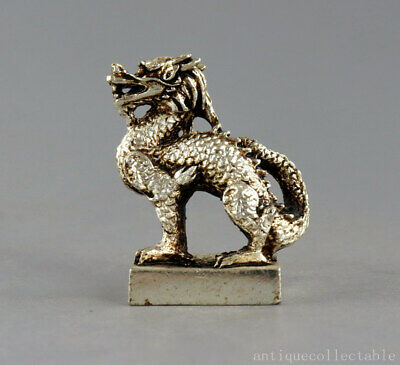 Collect China Old Tibet Silver Hand-Carve Myth Kylin Exorcism Amulet Seal Statue