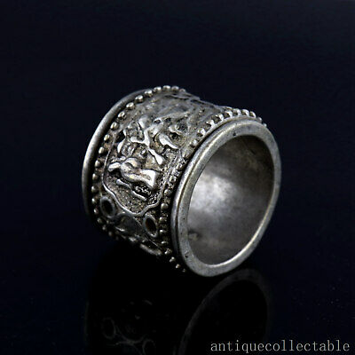Guangxu Year Antique Tibet Silver Hand-Carved Ancient Figure Delicate Noble Ring