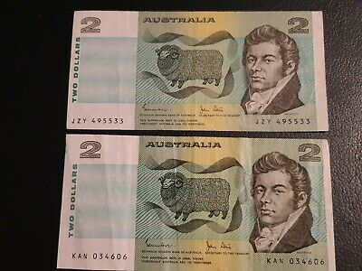 2x 1983 Australia $2 Dollar Johnston/Stone paper notes. Nice clean Condition