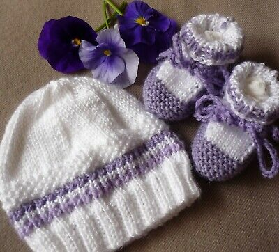 Baby Beanie & Booties, 100% Australian Wool (Mauve) Hand-Knitted By Me. White