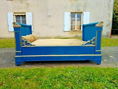 Fantastic Antique French Sleigh Bed,Corner/Day Bed in Bleu Canard,Louis Phillipe
