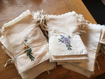Approx. 125 Beautiful Vintage Embroidered Linen Bags. Size 18x 12 Cm