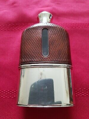 A Large,Solid Silver, Glass & Leather, Victorian Hip Flask. 1877.