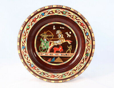 Egyptian Inlaid Wooden Art Wall Plate Marquetry 25cm Ancient Egypt Theme Vintage