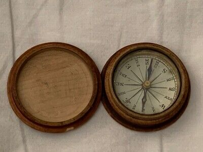 Antique 19th century Mauchline ware compass with Dryburgh Abbey transfer.