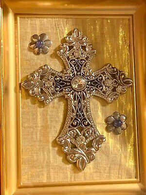Recycled Silver Tone Crucifix Cross Crystal & Blue Flowers Rhinestones On Glass