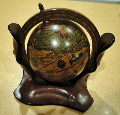 Vintage Old World Globe with Leather Stand Made in Italy RARE Design