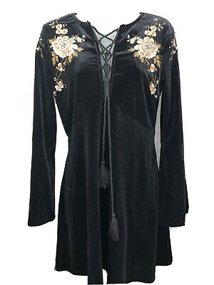 Vintage 1962 Black Satin Floral Embroidered Dress Small Sexy
