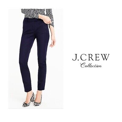 J Crew Maddie Pants Flat Front Stretch Straight Ankle Navy Blue  Size 8