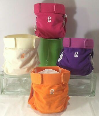 4 Gdiapers Mediums Pink Purple Ivory Orange Gpants With Pouches Euc