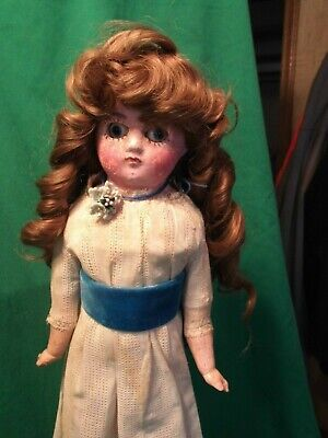 """Early Antique German? Wax Over Paper Mache Victorian Type Doll Glass Eyes 19"""""""