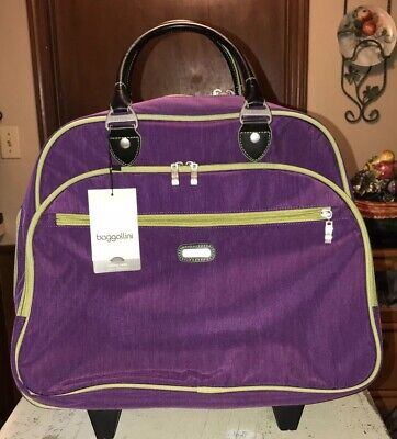 BAGGALLINI Tote Purple & Green Rolling/Carry On Luggage Telescoping Handle NWT