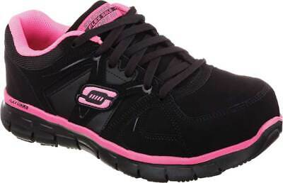NEW Womens SKECHERS Work Synergy Sandlot Alloy Toe Black LEATHER Sneaker Shoes
