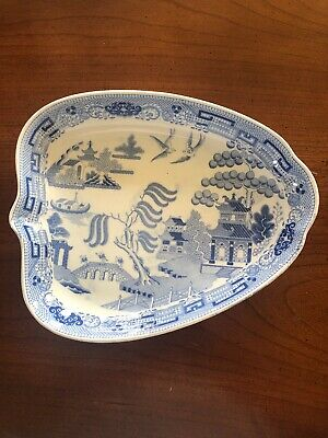 Antique Wedgwood Blue Willow Pearlware Leaf Dish 19th Century