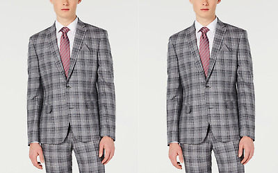NWT Bar III Men's Slim Fit Linen Plaid Jacket Blazer Gray Size 40R