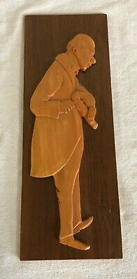Bourgault Carved Wood Plaque-Doctor And Baby?-Stamped On Back-Vintage