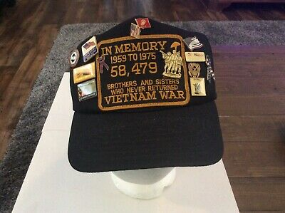 Vintage Vietnam Memory War Snapback Hat With Pins