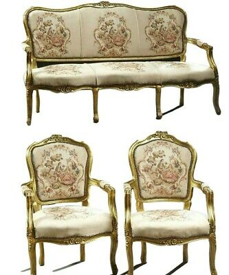 Parlor Set, Settee, Chairs,Two Louis XV Style Three-Piece Gilt Parlor Suite,!