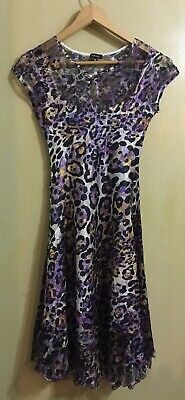 Komarov Womens Purple Leopard Crinkle Mesh Short Sleeve Dress Size M