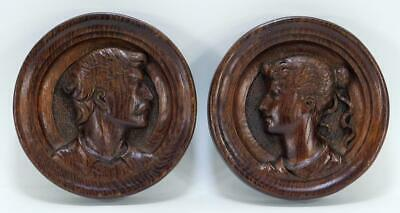 Antique Plaques, Wooden Portrait, Opposing English Carved Plaques, Handsome Deco