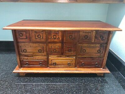Vintage Tabletop solid wood apothecary cabinet organizer 13 drawer jewelry chest