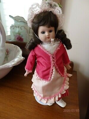Antique Reproduction doll handmade 12inch(31cm) porcelain/cloth body,pink outfit