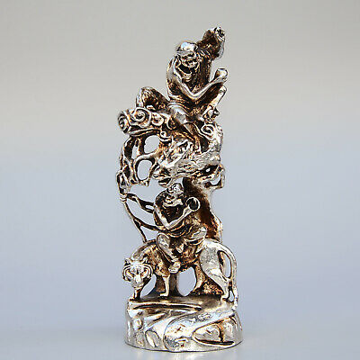 Collectable China Old Miao Silver Hand-Carved Arhat Ride Tiger & Dragon Statue