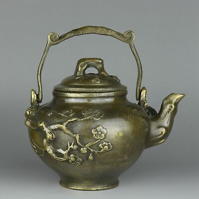 Collectable Handwork China Old Bronze Carve Plum Blossom Delicate Luck Tea Pot