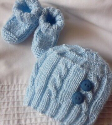 Beanie & Booties Set. Baby Blue. Hand-knitted by me. Extra Soft. Newborn Baby