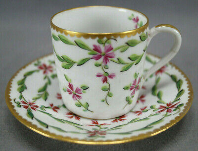 Sevres Style Hand Painted Pink Floral & Gold Coffee Cup & Saucer C. 1890s