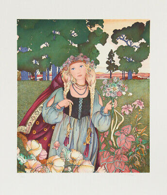 Jennie 'Gina' Tomao Stephanopoulos, Woman with Flowers, Lithograph