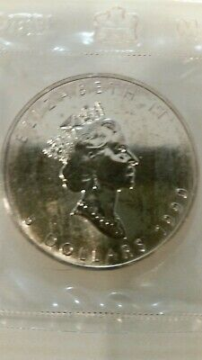 1990 Canada 5 Dollar Silver Maple Leaf 1Oz .999 Fine Coin In Air-Tight Sleave