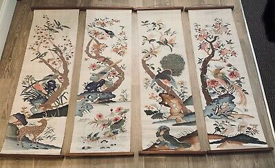 Rare Antique 19th C. Qing Dynasty Chinese Kesi Kusso Silk Panel of Four Seasons