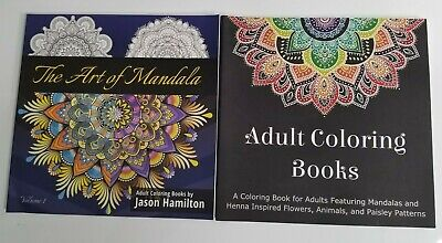 Lot of 2 Adult Coloring Books NEW Art of Mandala, Henna Inspired Flowers Animals