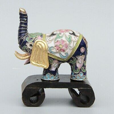 Collect China Old Cloisonne Hand-Carved Lovely Elephant Moral Bring Luck Statue