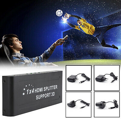 HDMI 4 Way Splitter Hub 1 in 4 out Duplicator Ultra HD 3D 4K*2K With Power New