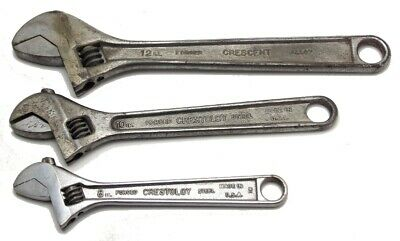 """3 Vintage Crescent Adjustable Wrench 4"""" 6"""" & 8"""" Made in USA Used"""
