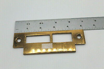 VTG Antique Brass Entry Door Mortise Strike Plate Double Hardware
