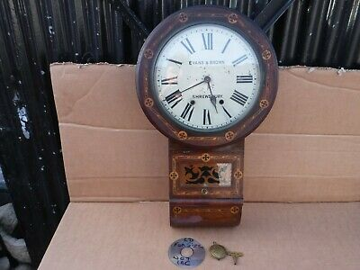 VINTAGE VICTORIAN DROP DIAL 8 DAY  WALL CLOCK. NEW HAVEN CLOCK Co.