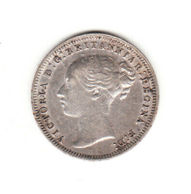 1874 Great Britain Queen Victoria Sterling Silver Threepence.