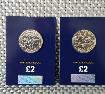 2020 Agatha Christie and  Mayflower £2 pounds Coins set  IN BLUE CARD BUNC New