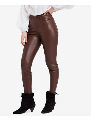 FREE PEOPLE Womens Brown Faux Leather High Waist Casual Pants 25 Waist