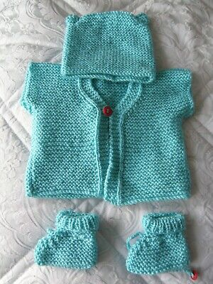 baby girls /boys hand knitted cardigan +hat +booties BN aged 0-3 months