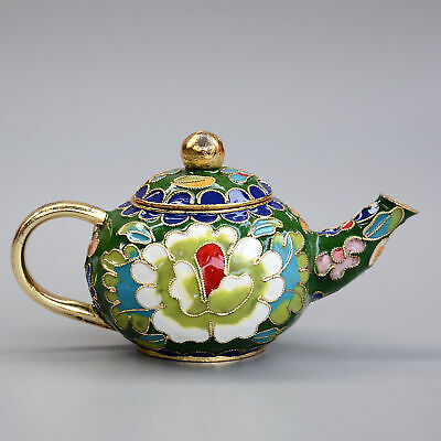 Collect China Old Cloisonne Hand-Carved Bloomy Peony Flower Moral Luck Tea Pot