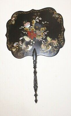 antique 1800's handmade French lacquered paper mache wood fire hand screen fan