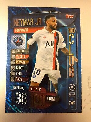Match Attax Extra 2019/20 Neymar Jr 100 Hundred Club No Clu 11 Mint