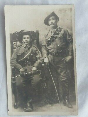 Australian WW1 photo postcard 2 diggers. Heliopolis.  8th Light Horse. Named.