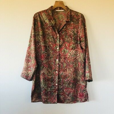 Vintage Victoria's Secret Paisley Satin Button Down Night Shirt Medium