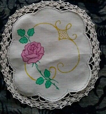 Lovely linen Doily with Rose design ready to embroider. Crochet edges.